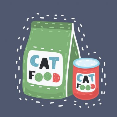 Vector cartoon illustration of Pet food on dark background. Food for cats and dogs. Bowl, Packaging, Advertising. icon