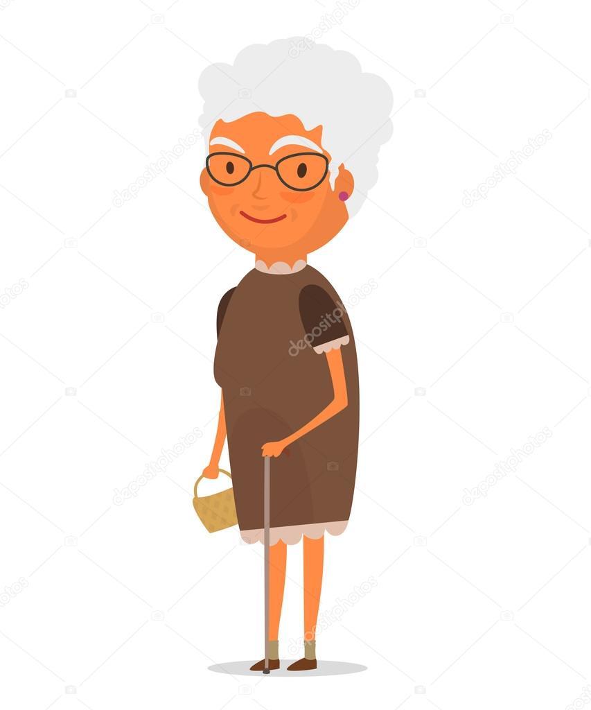 Oma in braunen Kleid — Stockvektor © makarevichivan93.gmail.com ...