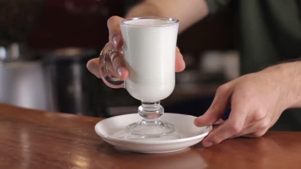 Bartender making latte. Close up