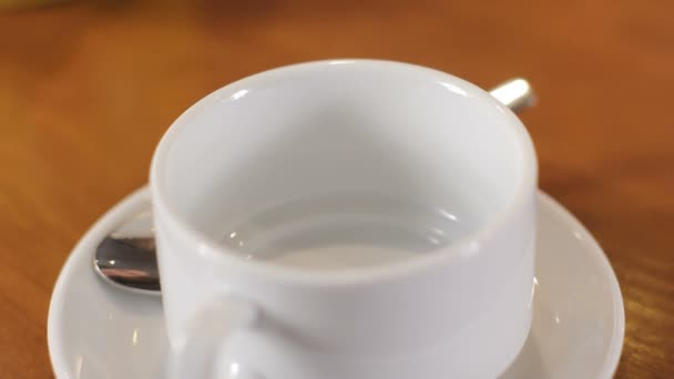 Pouring of black tea in white cup. Close up