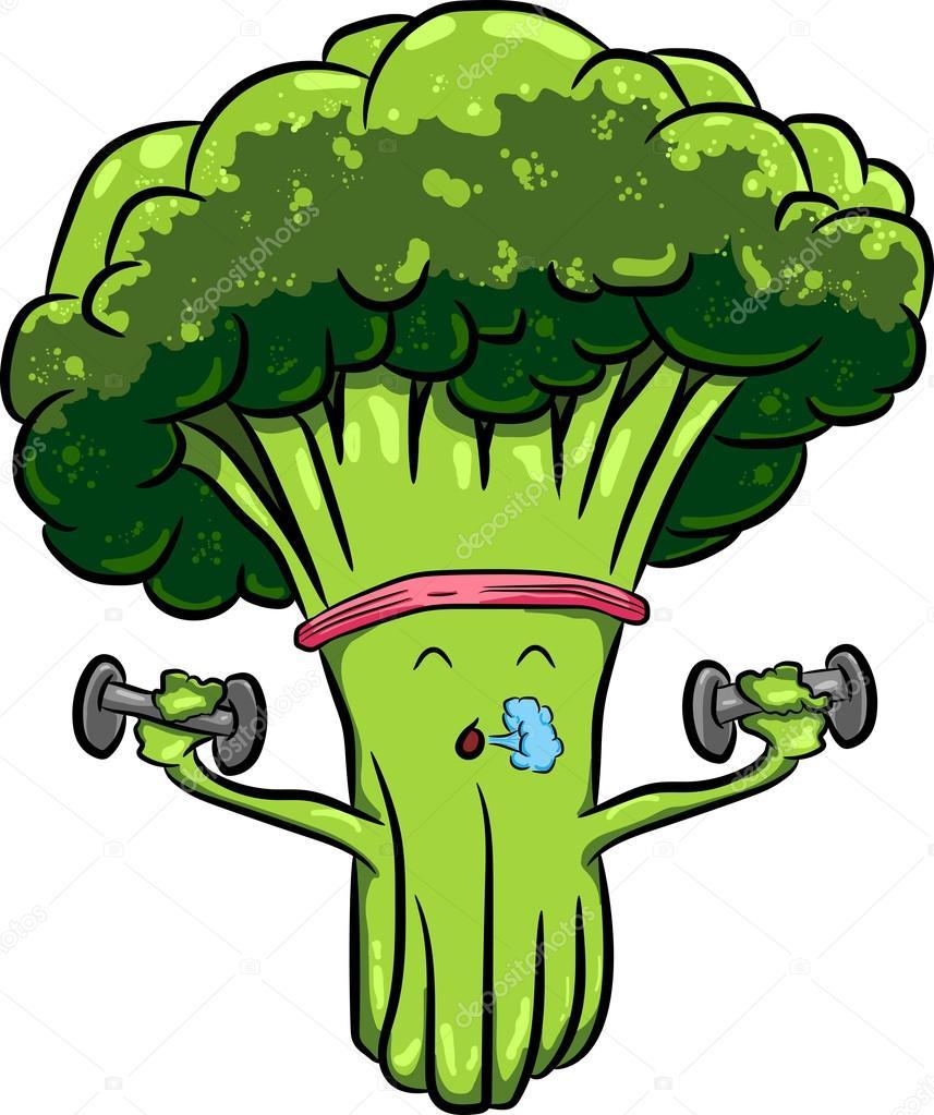 brócolis bonito dos desenhos animados brilhantes envolvidos em