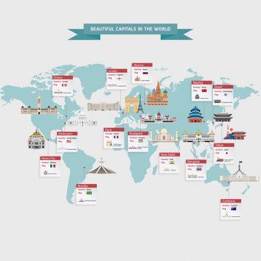 World capitals cities vector