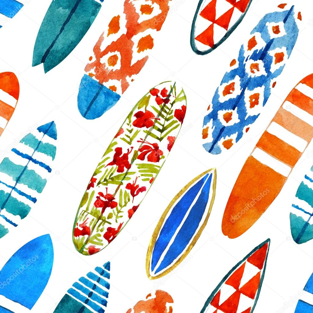 Hand drawn watercolor surfboard seamless pattern.