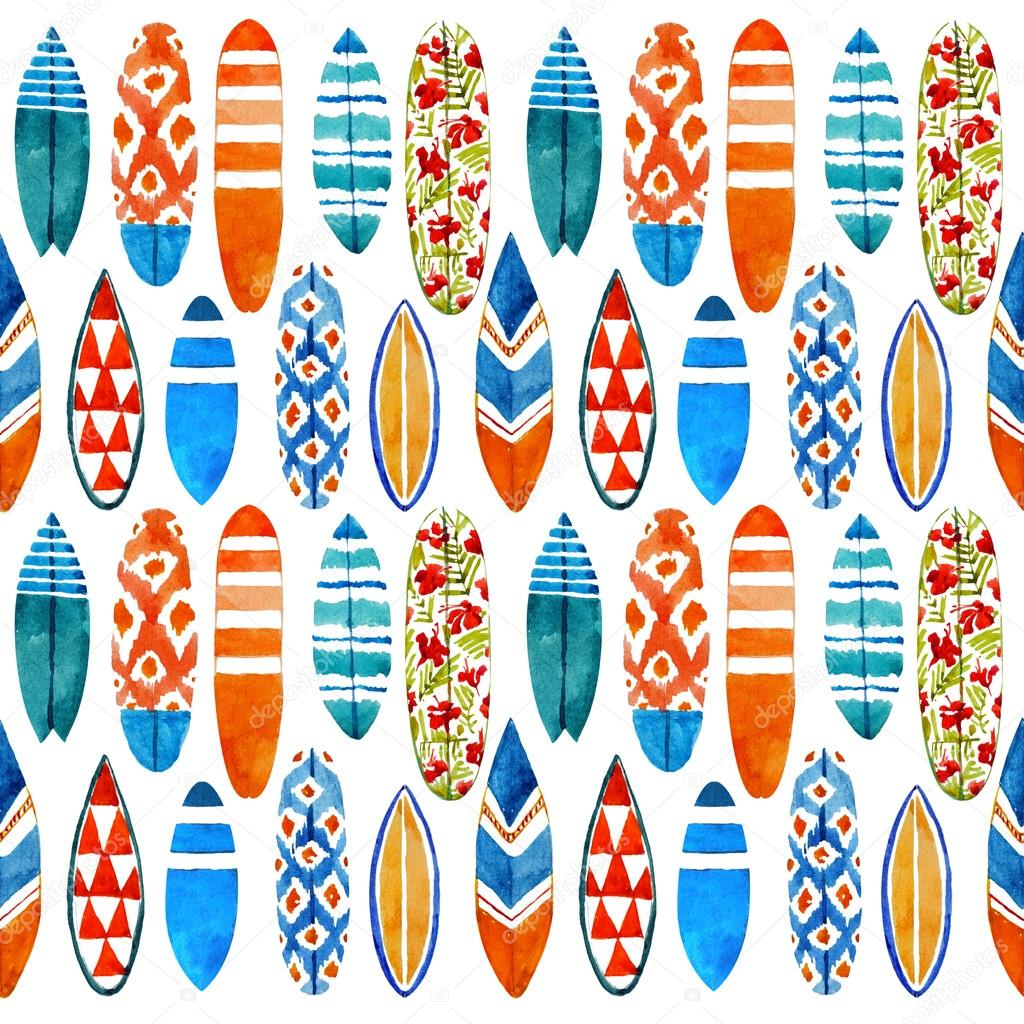 Surfboard watercolor seamless pattern.