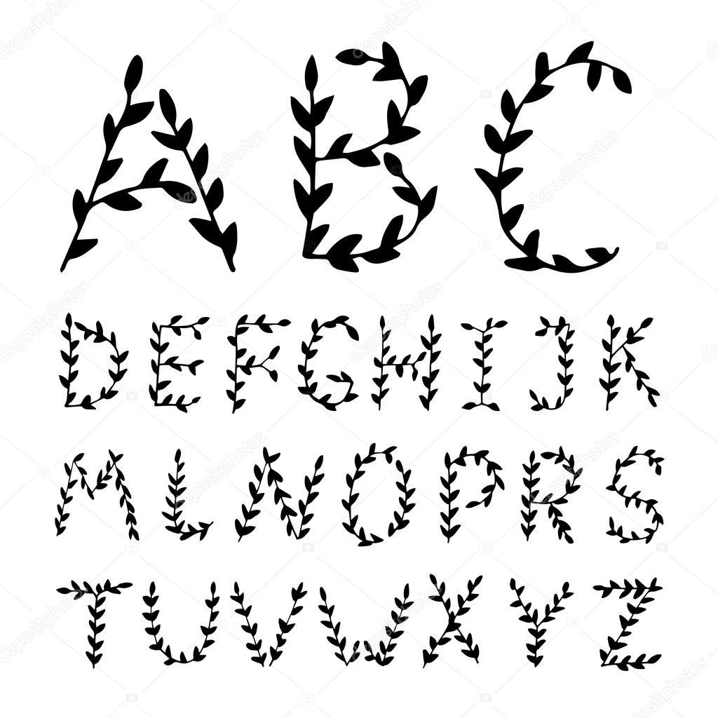 Romantic hand drawn Alphabet letters.
