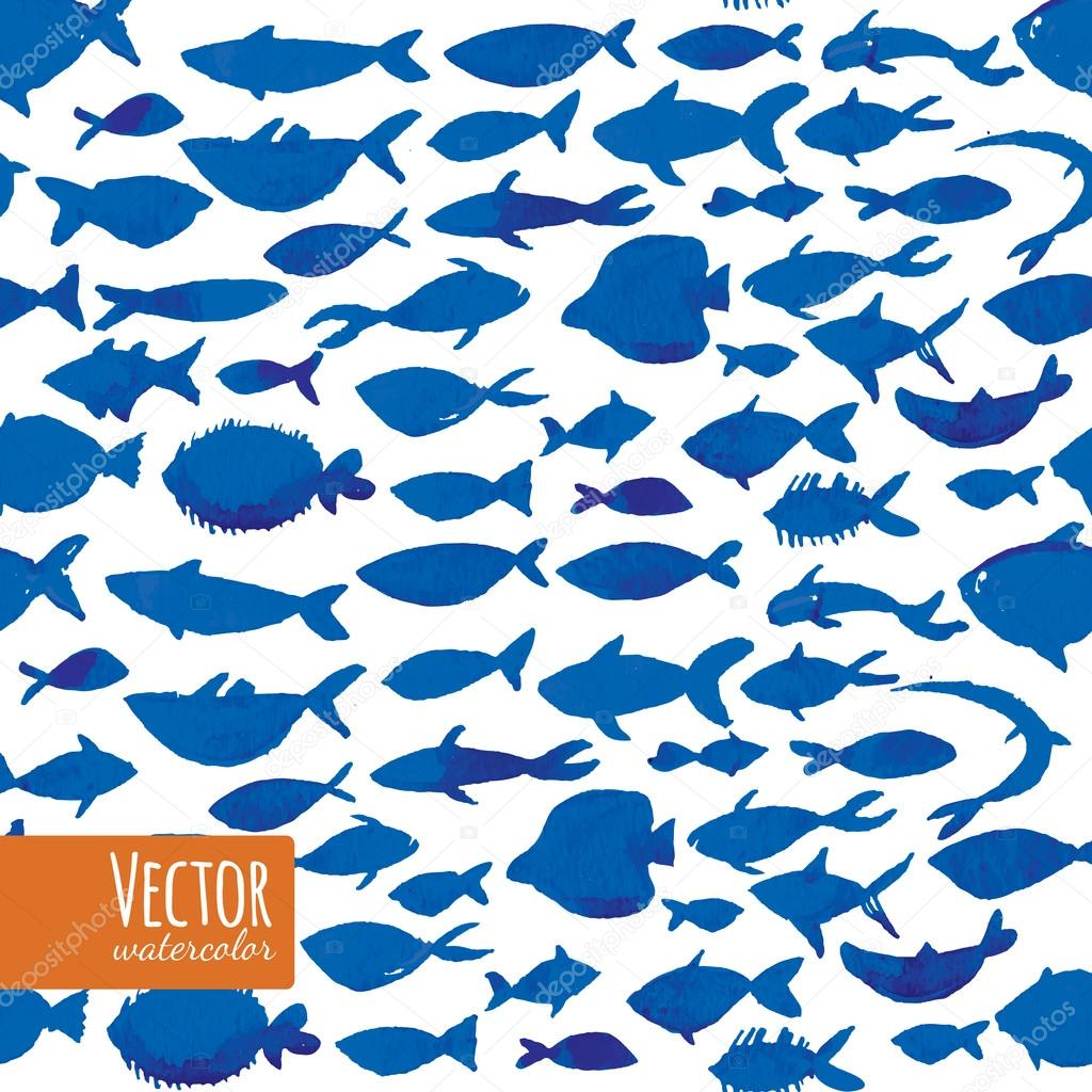 Vector illustration of watercolor blue fishes.