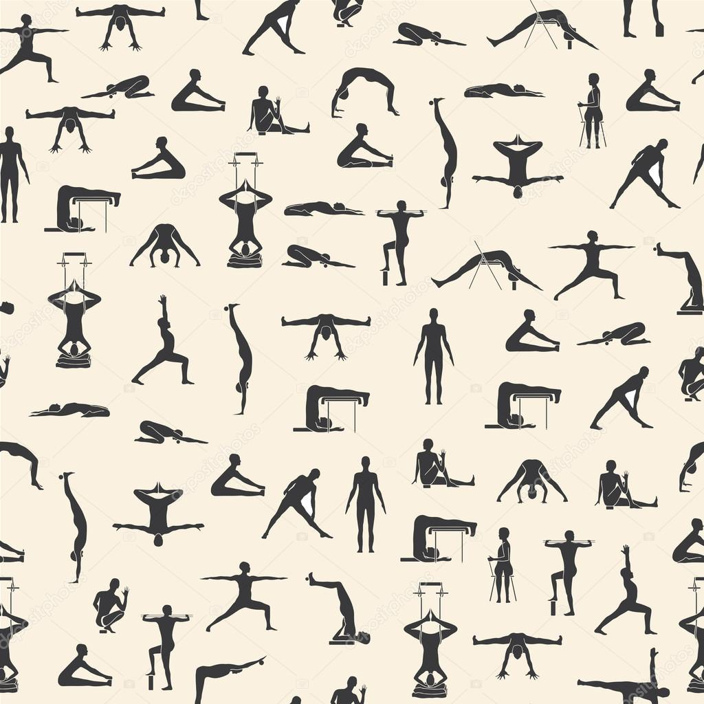 Set of yoga poses in vector.