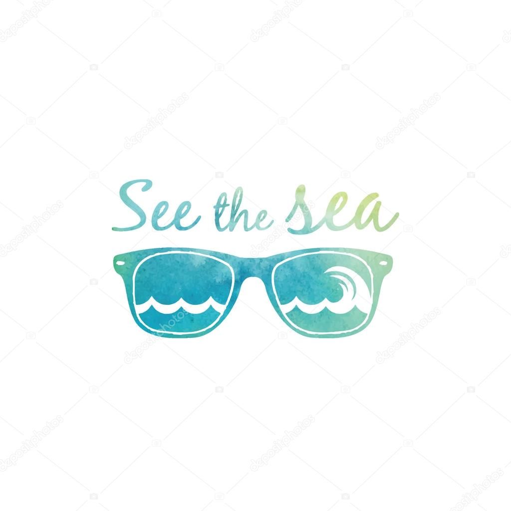 Watercolor sunglasses watching the sea.