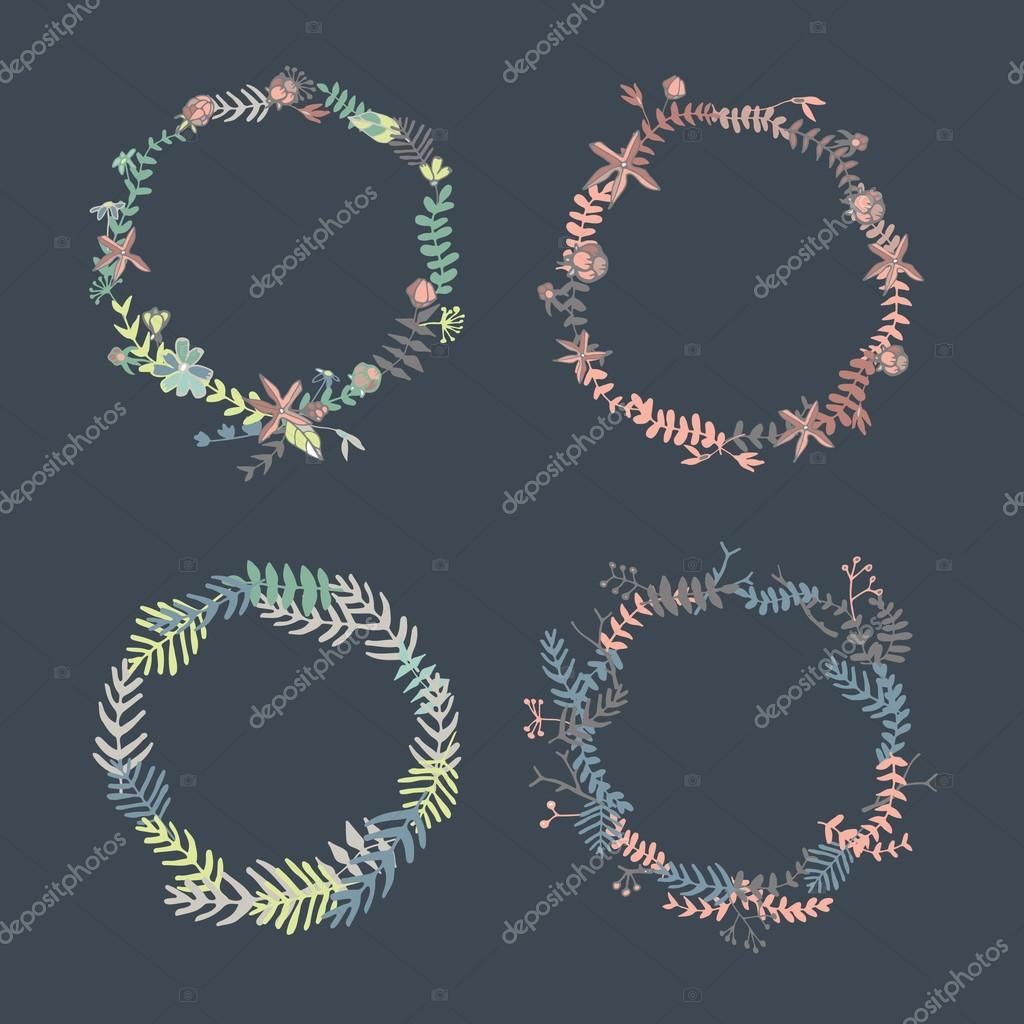 Set of hand drawn vintage flower wreaths in vector.