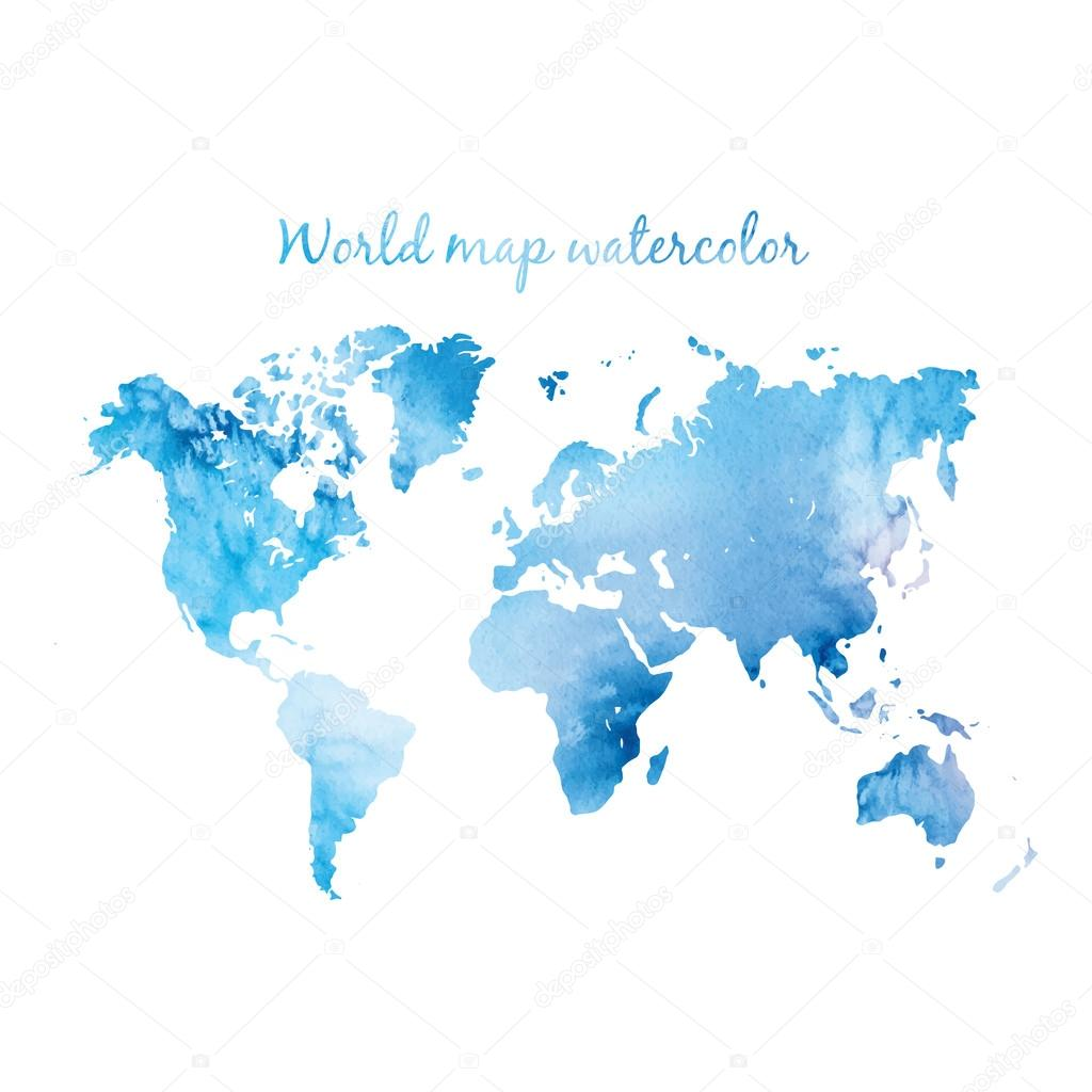 world map watercolor vector image collections