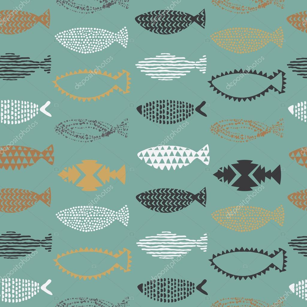 Fishes seamless pattern in vector.