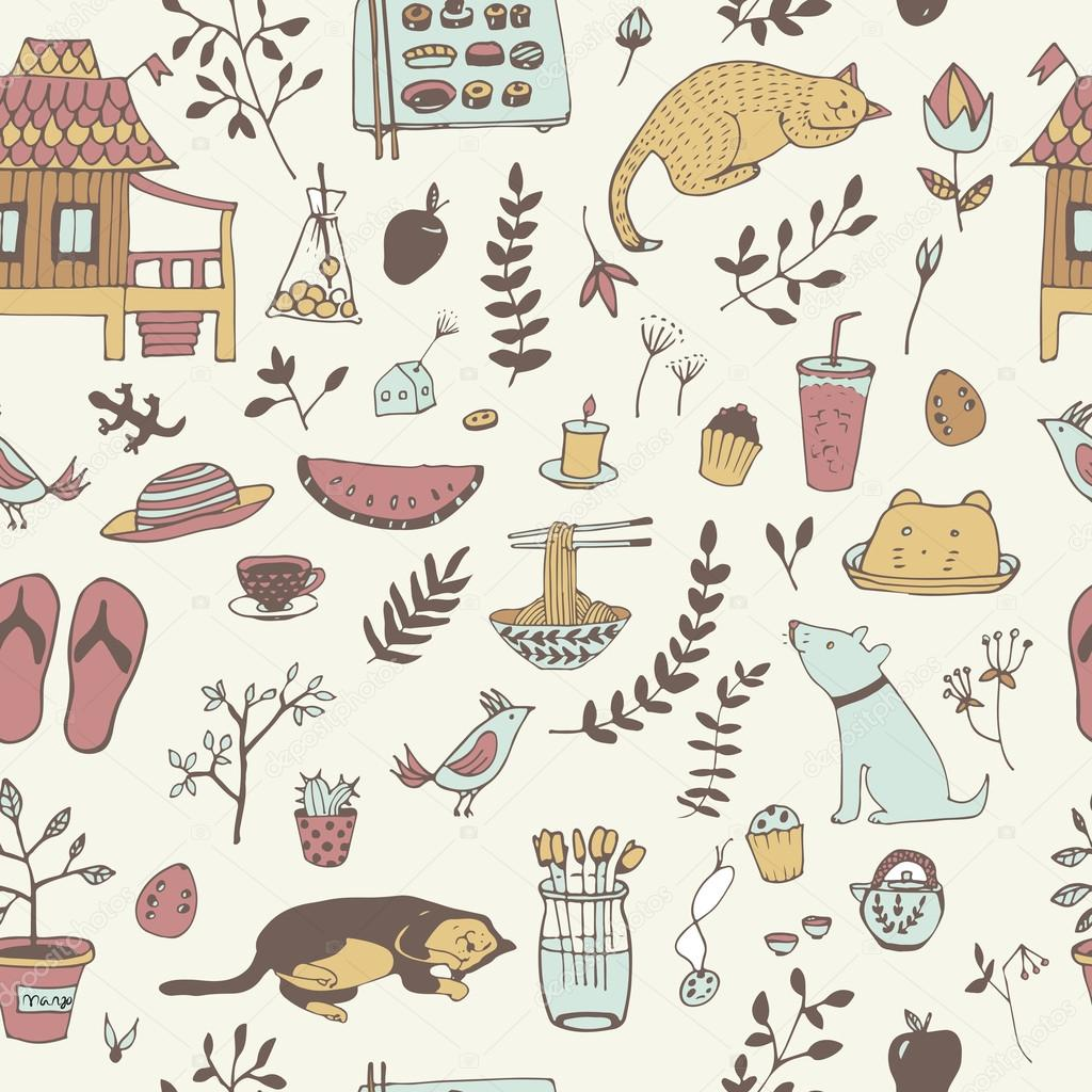 Doodle seamless pattern.