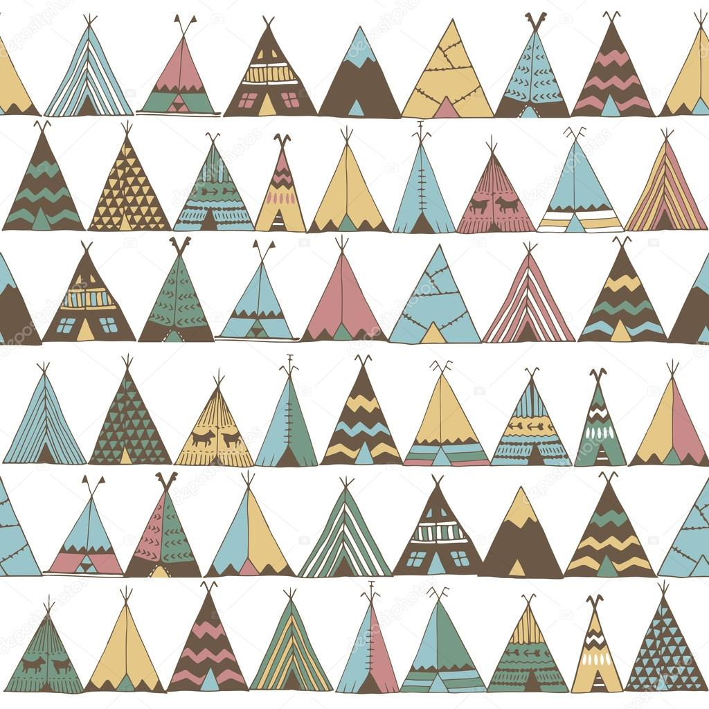 Teepee pattern. Wigwam native american summer tent illustration u2014 Stock Vector  sc 1 st  Depositphotos & Teepee pattern. Wigwam native american summer tent illustration ...