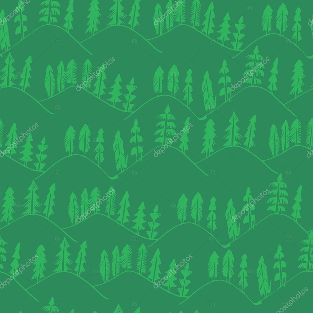 Фотообои Green forest pattern seamless.