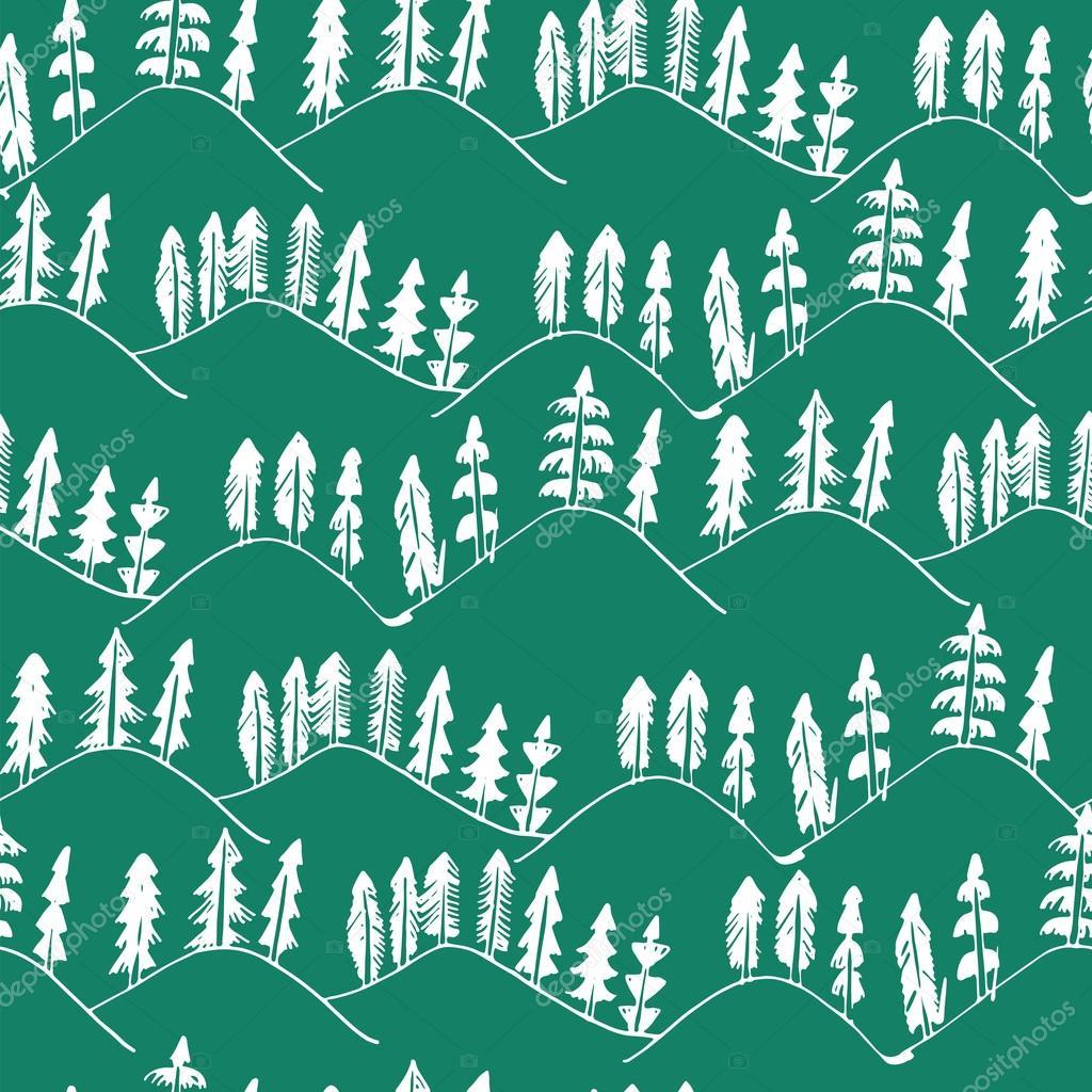 Hand drawn forest landscape pattern.