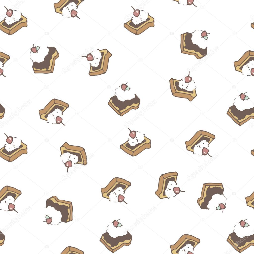Honey butter toast with whipped cream pattern in vector.
