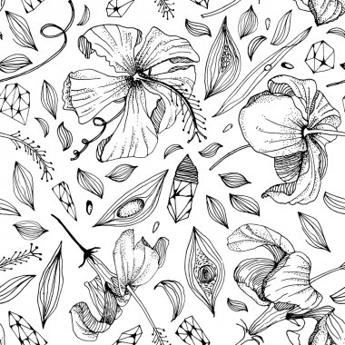 crystal and flower seamless pattern in vector.