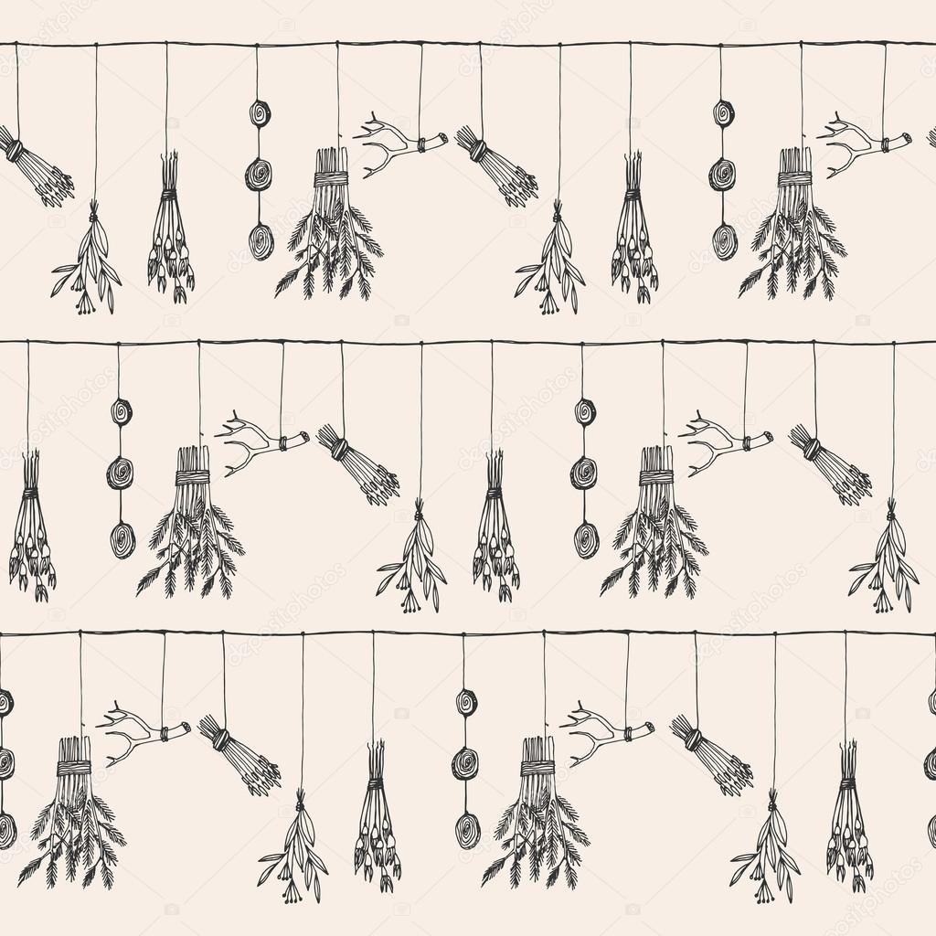 Hand drawn dry herb and plants garland illustration in vector.