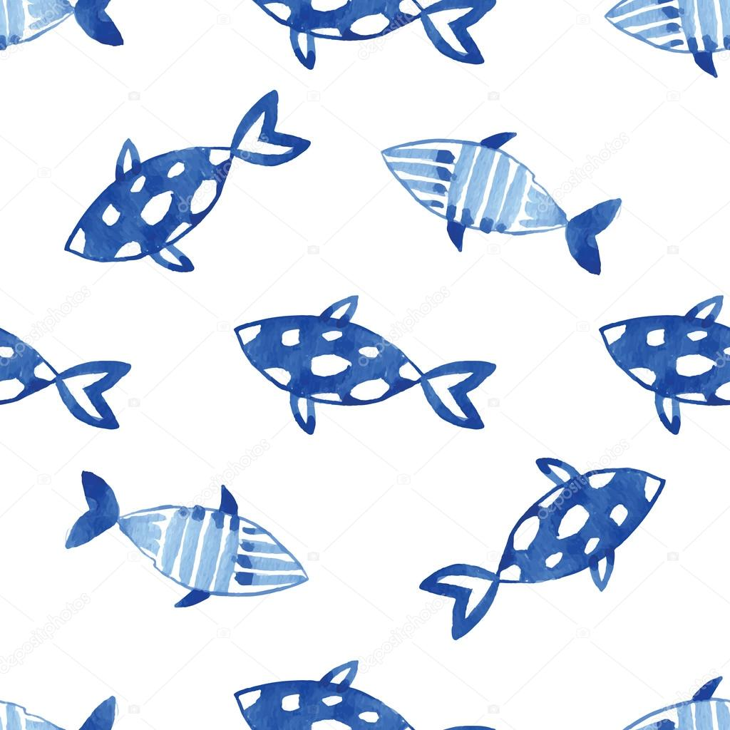 Watercolor indigo blue ocean fishes pattern.