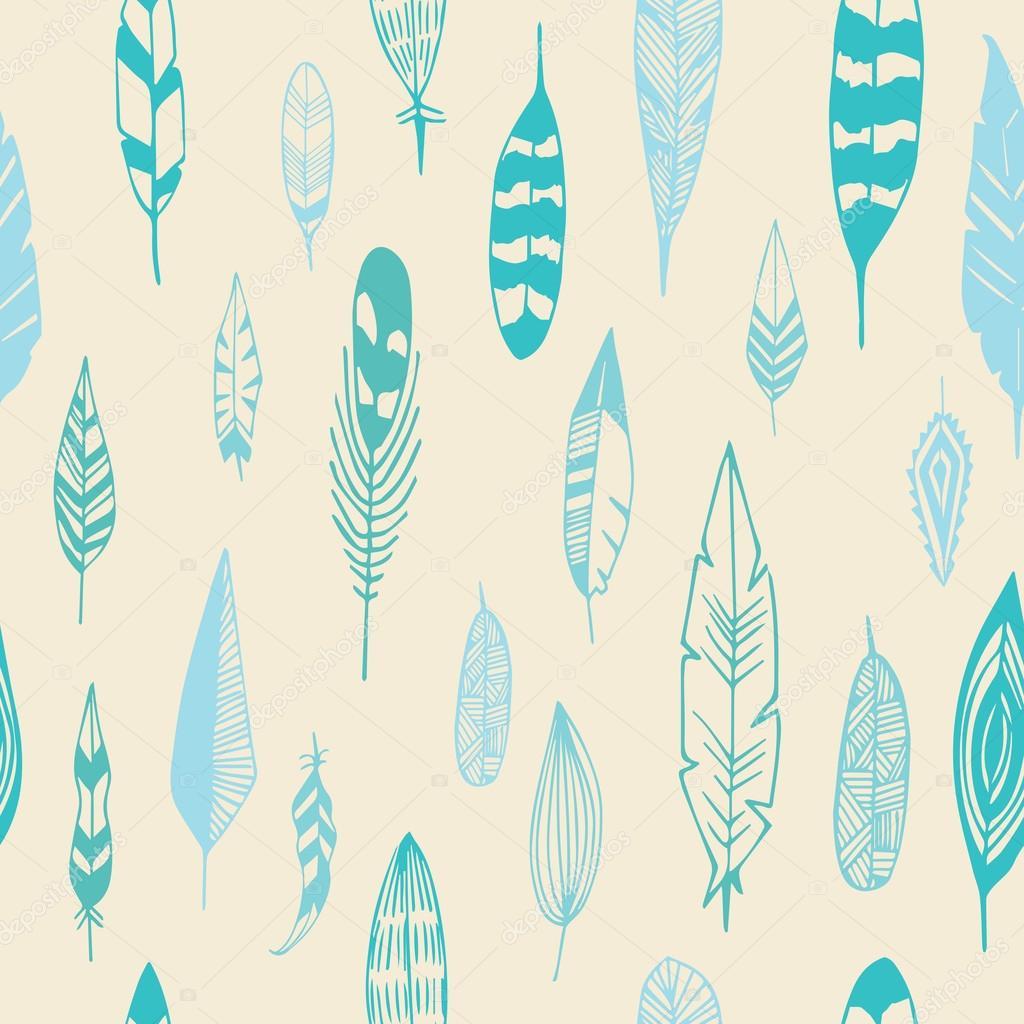 Feathers pattern seamless. Good night illustration in vector.