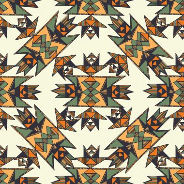 Tribal hand drawn native american pattern in vector.