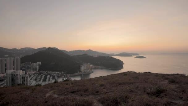 4K Timelapse high angle view of sunrise at Yuk Kwai Shan (Mount Johnson) located in Ap Lei Chau,Hong Kong.