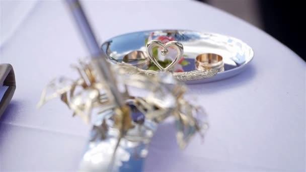 Registro di matrimonio con penna, anelli dello sposo e della sposa