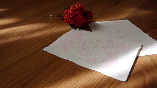 Wedding Invitation card with small flower of rose