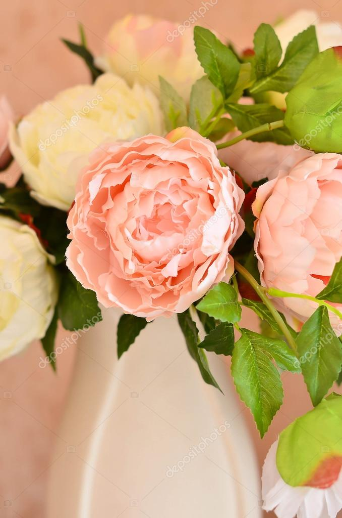 Pink and white flowers peonies in a white porcelain vase stock pink and white flowers peonies in a white porcelain vase filtered image photo by tinagrachevast mightylinksfo