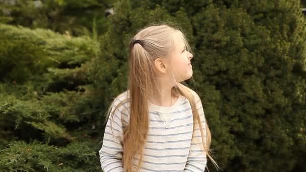 schöne Mädchen auf dem Hintergrund von Wacholderbüschen