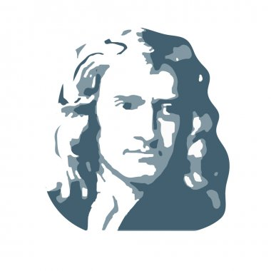 Isaac Newton, an English physicist and mathematician. Vector.
