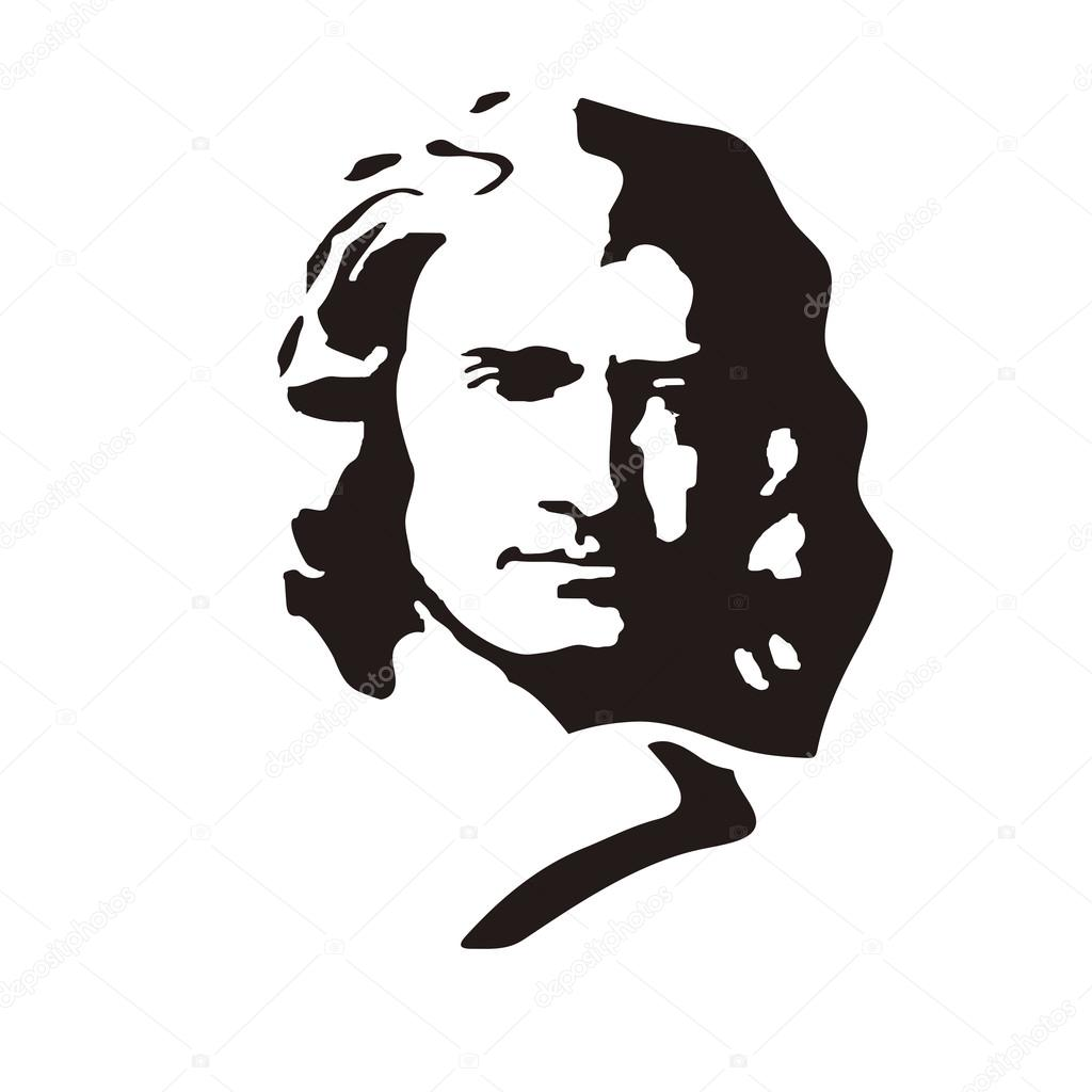 Sir Isaac Newton - English physicist and mathematician, one of the founders of classical physics. stock vector
