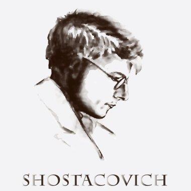 composer Dmitri Shostakovich. vector portrait