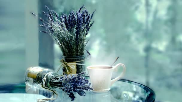 lavender bouquet on a background of window. HD cinemagraph - motion photo seamless loop