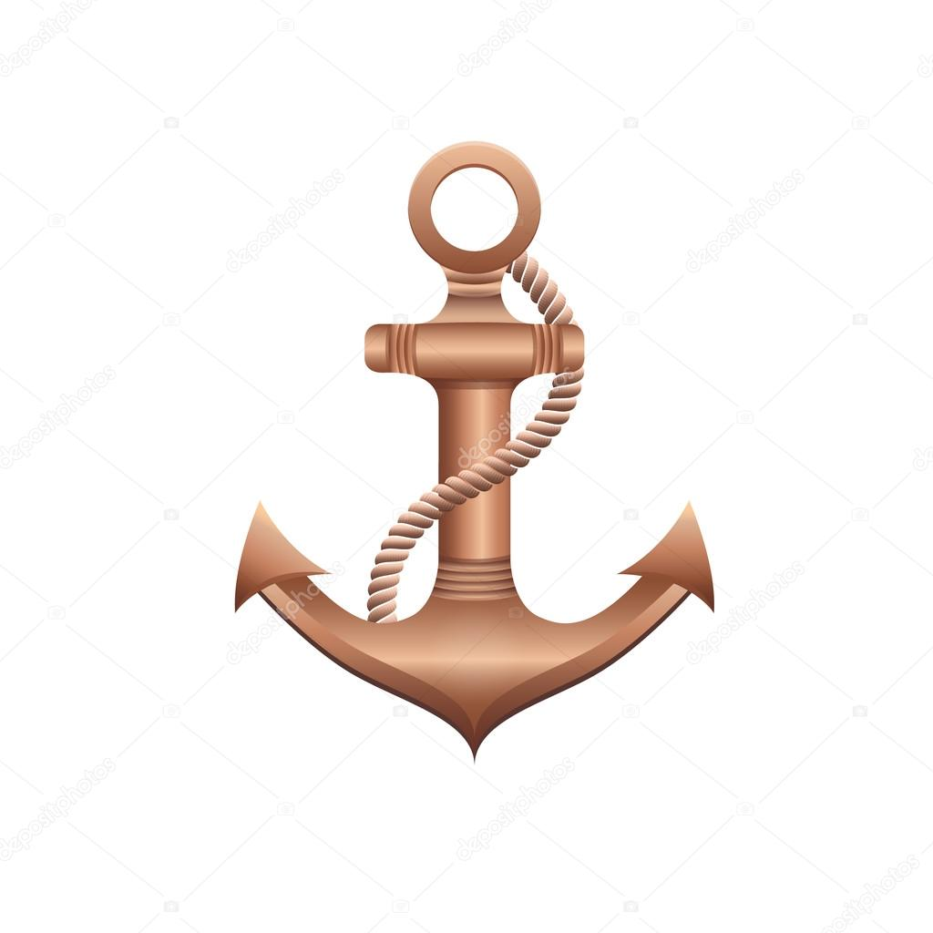 Vector bronze anchor