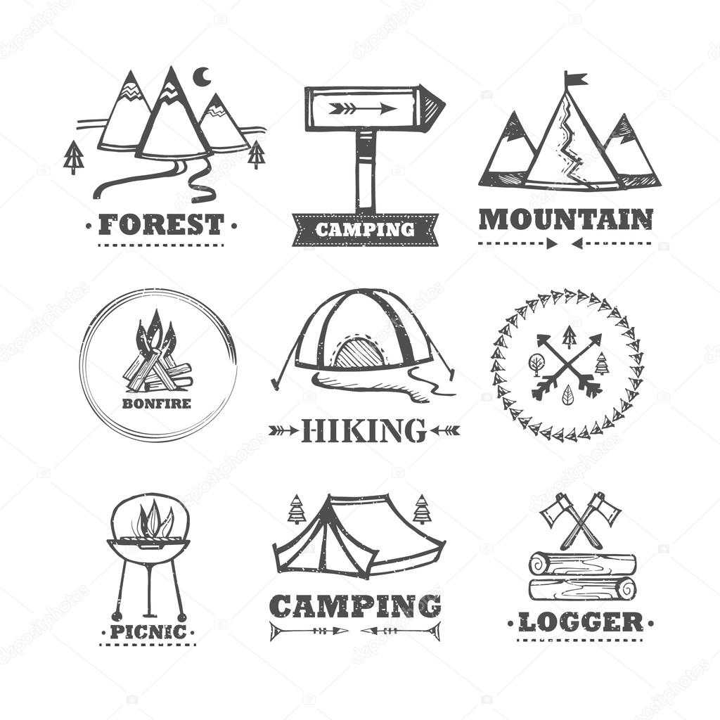 Set of vector logos camping