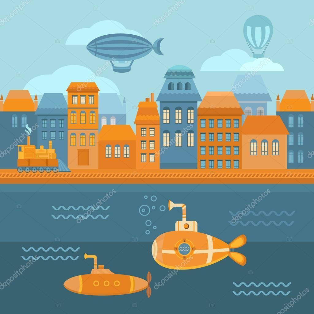 Illustration steampunk city