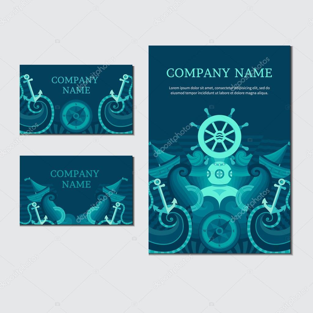 Vector sea card. Marine identity