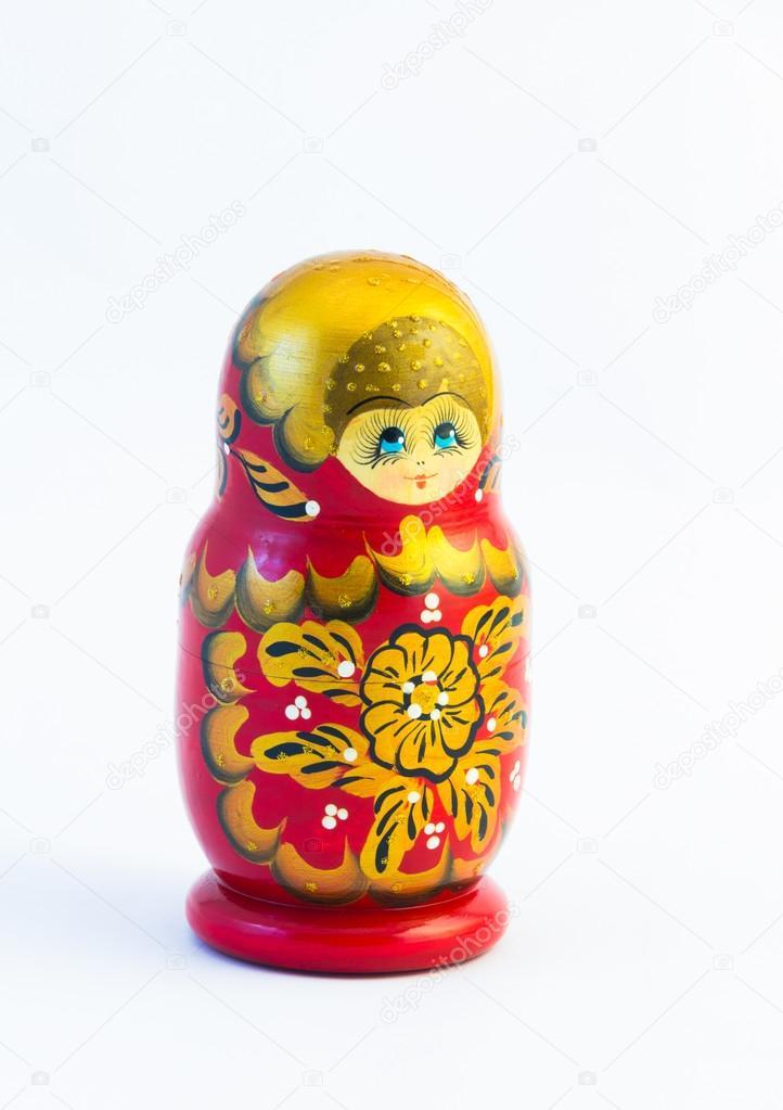 One matryoshka russian nesting dolls isolated on white backgroun