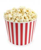Fotografie Popcorn in red and white cardboard box for cinema or TV