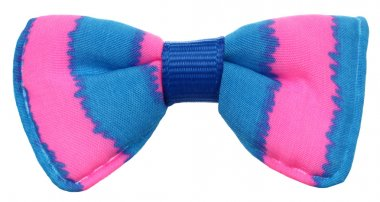 This is a lovely bow tie, with pink and blue stripes. stock vector
