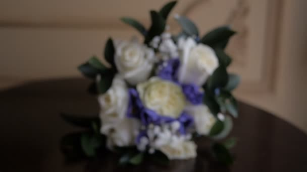 Bridal Bouquet With Blue And White Colors Indoor