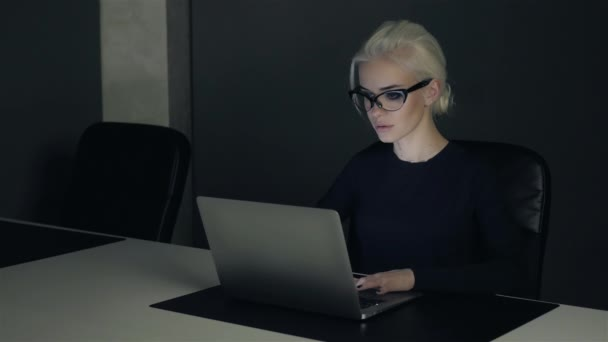 Cinemagraph Business Attractive Blonde Woman Working in Office on Laptop
