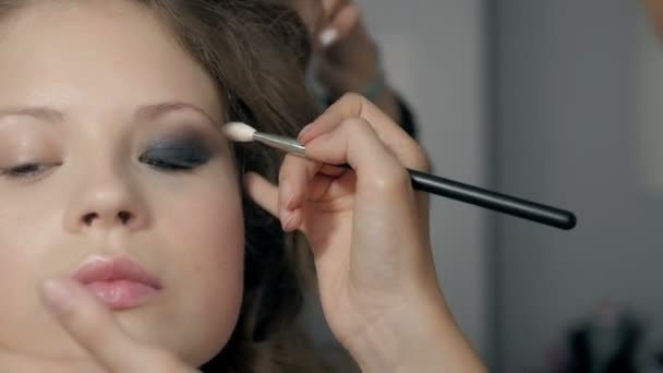 Makeup. Make-up. Eyeshadows. Eye shadow brush, eye lid, smockey eyes