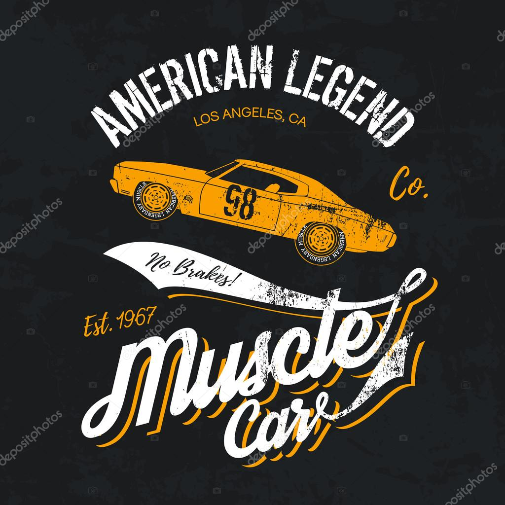 1bcfb9f1 Vintage American muscle car old grunge effect tee print vector design  illustration. Premium quality superior retro logo concept. Shabby t-shirt  mock up.