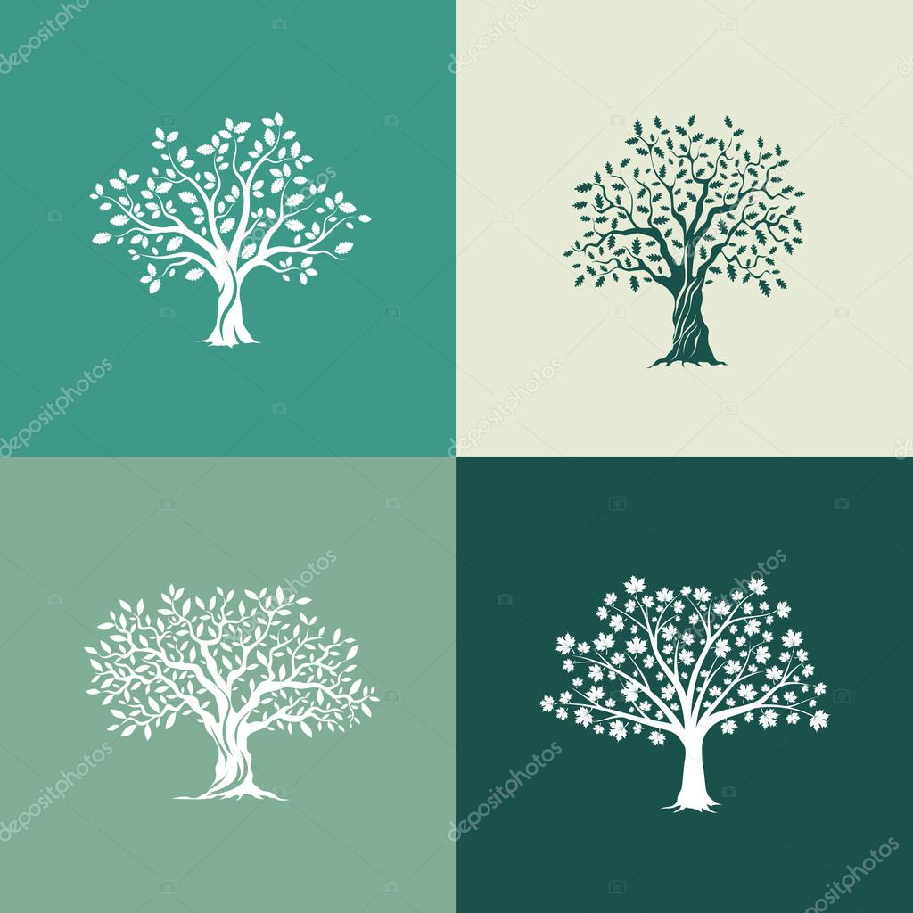 Beautiful oak, olive and maple trees silhouette set on green background.