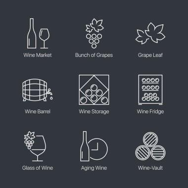 Thin line wine icons