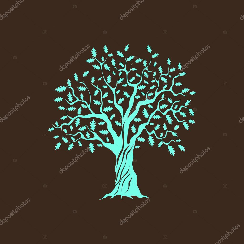 Beautiful green oak tree