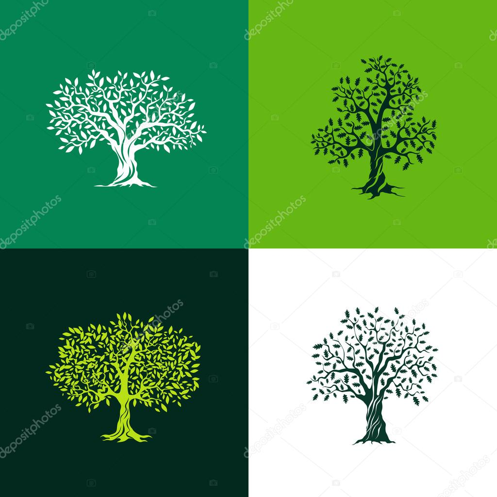 oak and olive trees silhouette set