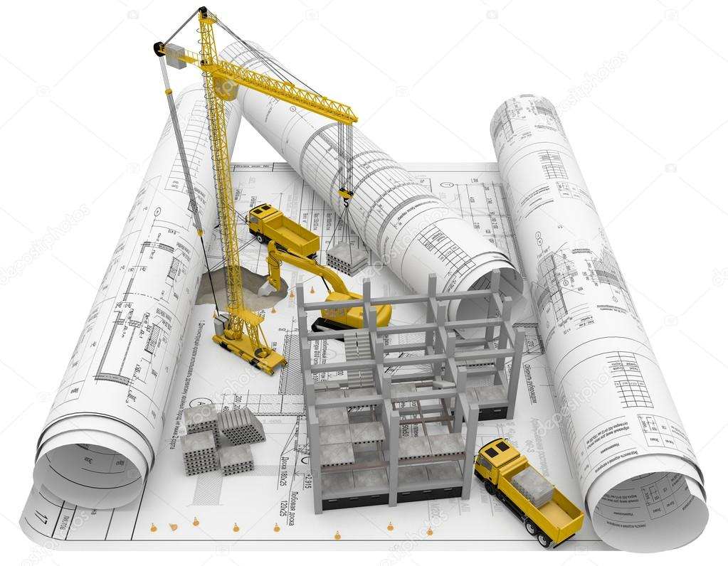 Rolls Architectural Drawings With Construction Equipment And New Building On A White Background Stock Photo Image By C Yusev 101835218